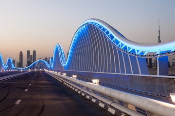 Meydan Bridge in Dubai at night. United Arab Emirates