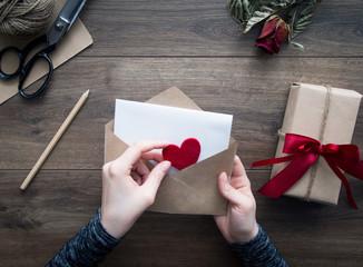 Love letter on wooden background