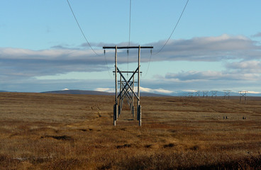 High-voltage line in the Chukchi tundra.