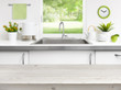 canvas print picture - Wooden table on kitchen sink window background