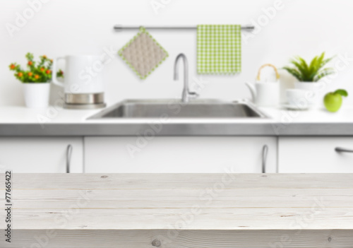 Canvas Koken Wooden table on kitchen sink interior background