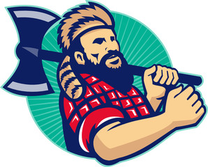 Lumberjack Logger With Axe Retro