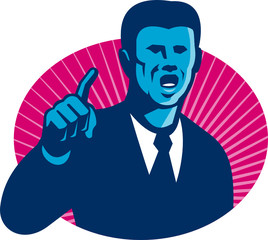 Blue Businessman Politician Pointing Retro