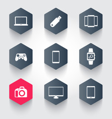 gadgets trendy hexagonal icons vector illustration, eps10