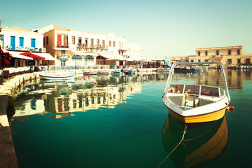 Yellow boat in Rethymnon,  impressions of Greece