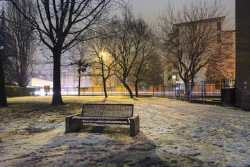 Frozen solitary bench