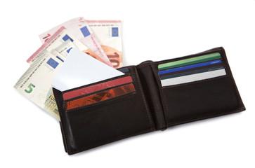 portefeuile billets et cartes de crédit