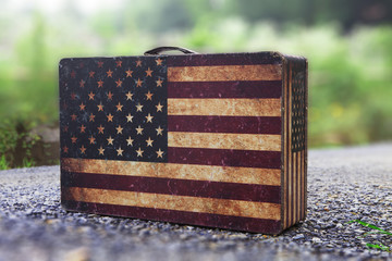 USA flag pattern luggage with nature background