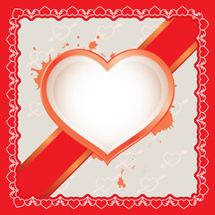 The heart card with ribbon