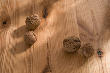 Nuts on a wooden table