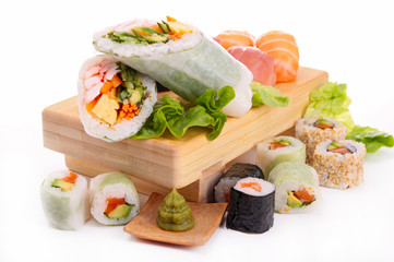 assortment of fresh sushi