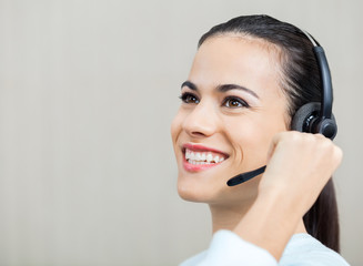 Customer Service Representative Talking On Headphones