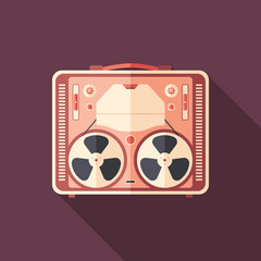 Vintage tape recorder flat square icon with long shadows.