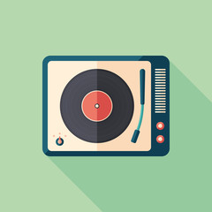Vintage turntable flat square icon with long shadows.