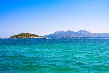 Sea bay turquoise water mountain view , Cala Pi-de-La-Posada