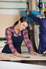 Female Carpenter Writing On Document