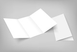 Photo: blank vector tri fold mockup on gray