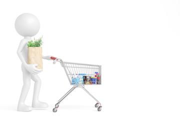 Kunde im Supermarkt schiebt Einkaufswagen