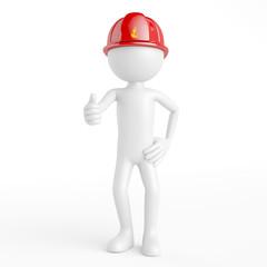 Feuerwehrmann als 3D Mensch hält Daumen hoch