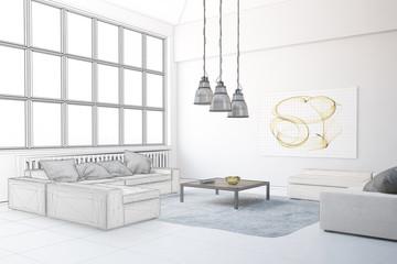 Planung von Wohnzimmer im Loft
