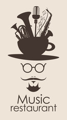 head of a mustachioed man with a cup and musical instruments