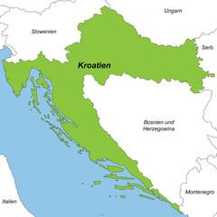 Kroatien in grün und weiß (beschriftet)