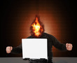 Happy successful businessman with a flaming head