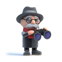 3d Grandpa looks through binoculars
