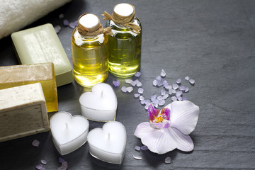 Cosmetics for body care and spa abstract still life