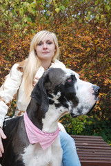Dog Portrait and blond Woman