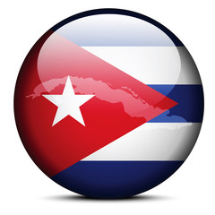 Map on flag button of Republic of Cuba