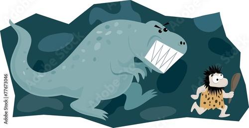 Plagát, Obraz Dinosaur chasing caveman