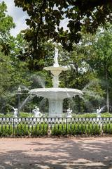 Park Fountain Past Brick Walkway
