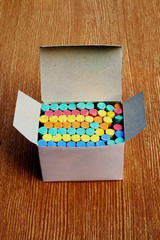 box of color chalk