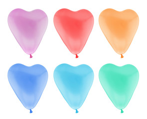 Colorful heart balloon isolated on white with clipping path
