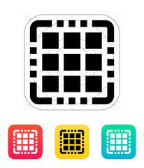 Multi Core CPU icon. Vector illustration.