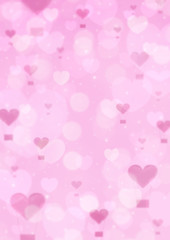 Blur pink heart air balloon on pink bokeh background, love conce
