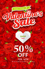 Happy Valentines day sale on red rose background