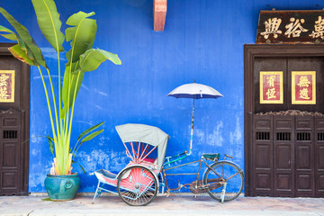Old rickshaw tricycle near Fatt Tze Mansion, Penang