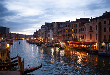 View from Rialto bridge of Venice by night.