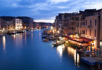 View from Rialto bridge of Venice by night.
