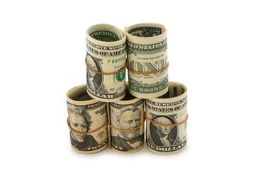 Dollar-Rollen gestapelt