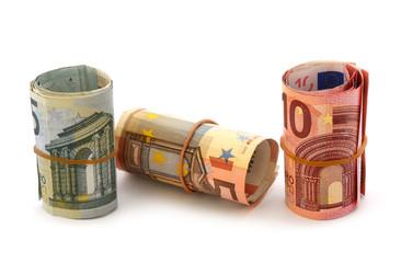 Euro-Scheine gerollt