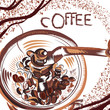 Coffee poster with hand drawn coffee mill in sketch style