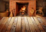 table with fireplace poster