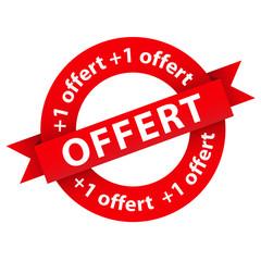 """Bouton """"+1 OFFERT"""" (un acheté gratuit offert gratis tampon)"""