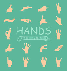 Hand vector collection on white background