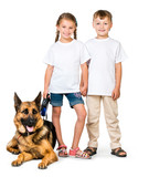 children with a shepherd dog - 77680430