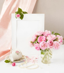 Still life with tea roses bunch