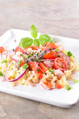 Salad with millet and vegetables. Healthy salad gluten-free.